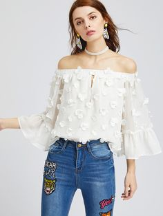 White+Off+The+Shoulder+Bell+Sleeve+Flower+Applique+Top+21.90