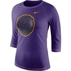 Nike Women's Louisiana State University Champ Drive Raglan T-shirt (Purple, Size Small) - NCAA Licensed Product, NCAA Women's at Academy Sports
