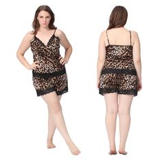 6cf50d2291a  Beautiful Leopard Plus Size Silk  Pajamas for your most stylish i in night  .