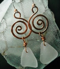 Sea Glass and Copper Spirals Earrings