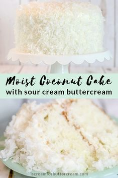 This coconut cake is a tender, moist cake with subtle coconut flavor. The sour cream buttercream adds slight tanginess, a perfect compliment for this cake. Coconut Cake From Scratch, Sour Cream Coconut Cake, Sour Cream Frosting, Coconut Frosting, Cake Recipes From Scratch, Kokos Desserts, Coconut Desserts, Köstliche Desserts, Coconut Recipes