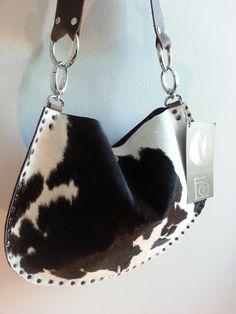 Small Calf Skin Short Hair On Leather Handmade Handbag with Swarovski Crystal Contrast Strap by RebellionBags on Etsy https://www.etsy.com/listing/118060772/small-calf-skin-short-hair-on-leather