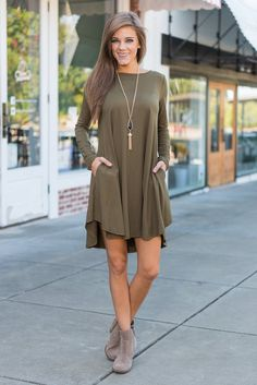 """""""Long Sleeve Jersey Knit Dress - Olive"""" You don't want to live a life without this gorgeous olive green dress in it! So, we suggest you hurry and get checked out with dress!  #newarrivals #shopthemint"""