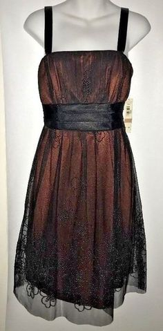 9a819fa9da23 NWT K   M Richards Size 12P Black Shimmery Brown Dress with Embellishment