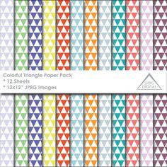 Geometric Paper, Triangle Paper, Multipack, Printable Paper, Digital Scrapbooking, Multicolored, Digital Background, 12x12 JPEG paper  ~ 12 JPEG