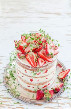 Rustic Strawberry Cake with Thyme, Olive Oil & Meringue Buttercream by Made by Mary