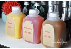 How cute are these mini-milk jugs?  I wish i could find a cheaper alternative...