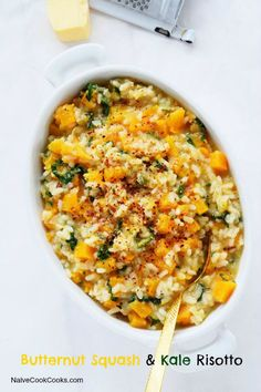 Butternut Squash Kale Risotto - wonder how it would be if I left out the cheese and added a little nutritional yeast for taste. Not as creamy but roasted butternut squash would help. Vegetarian Recipes, Cooking Recipes, Healthy Recipes, Meal Recipes, Rice Recipes, Vegetable Recipes, Pan Dulce, Filet Mignon Chorizo, Butternut Squash Risotto