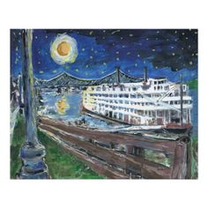 Starry Night Riverboat Poster