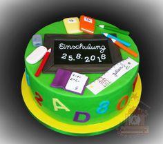 Einschulung Fondant Cakes, Cupcake Cakes, Cupcakes, Teacher Cakes, School Enrollment, School Cake, Celebration Cakes, Back To School, Birthday Cake