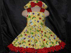 Dress & Hat Set , Girls Dress and Hat, Toddler Dress, hat, Baby Dress and hat, Birthday Dress  a nd Hat, Ladybugs Dress / Hat  3m to 5 girls