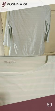 Boat neck Merona Top Light blue with white stripes Merona boat neck top. Natural fit, flattering but not too snug. Merona Tops