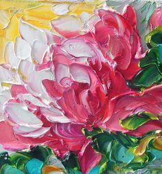 LOVE !!  Oil Painting Original Impasto Bright Pink by IronsideImpastos
