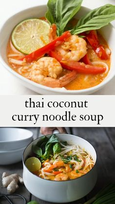 Thai Coconut Curry Noodle Soup from Northern Thailand called Khao Soi! This FAST, FLAVORFUL EASY soup has rich fragrant broth and can be made with w/ either shrimp, crispy tofu or chicken! Thai Recipes, Curry Recipes, Seafood Recipes, Asian Recipes, Whole Food Recipes, Korean Soup Recipes, Fast Recipes, Baby Food Recipes, Coconut Curry Shrimp
