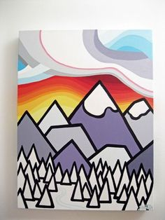 Artwork by Leanne Spanza. Simple Lines. Cool Art Projects, Project Ideas, Bold Colors, Colours, Mountain Art, Happy Art, House Art, In The Tree, Simple Lines
