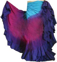 turquoise blue/berry fushia&deep lapis blue~ triple dip dyed belly dancing skirt