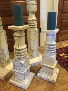 Candlesticks made from antique porch posts. Old White dry brushed over old paint.