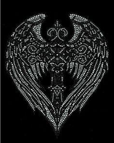 Large Angel Wing Heart shape Cross Rhinestone Iron On Motif