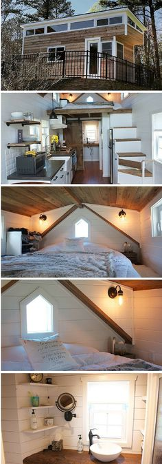 A farmhouse-style tiny house! Measures just 204 square feet. A farmhouse-style tiny house! Measures just 204 square feet. Tyni House, Tiny House Living, Bus Living, Small Living, Tiny House Movement, Small Room Design, Tiny House Design, Tiny House Plans, Tiny House On Wheels