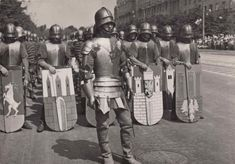 "historicaltimes: ""Reenactors dressed as knights taking part in a parade organised on the 1000th anniversary of the Polish state. Warsaw, Poland, 22 July 1966 """