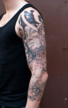 Black & Gray Tattoo | Craftz Berlin | 3/4 Sleeve | Buddha Blossoms Tibetan Skull Cloud