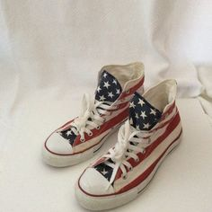 """Converse Chuck Taylor Stars & Bars Size 10.5 These sneakers are Converse Chuck Taylor All Stars high tops in the """"Stars and Bars"""" pattern. The size is 10.5 Women's or 8.5 Men's. They are in excellent used condition with only a few marks on the white stripes. Converse Shoes Sneakers"""