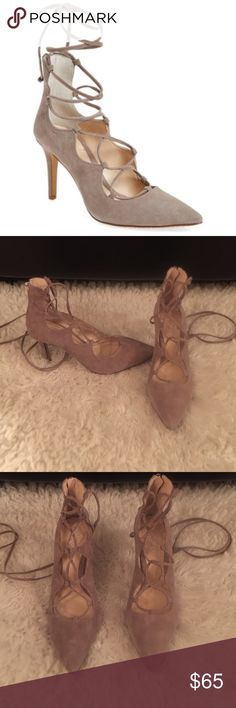 """Vince Camuto Barsha Lace Pump 7.5 Brand new. Color is Dolphin Gray.No tags or box. No damages. Size 7 1/2. Beautiful shoe!! Still in stores for retail price of $129. pointy-toe pump exudes uptown sophistication in lush suede with ghillie straps that crisscross along the vamp and around the ankle for dramatic effect. Gleaming hardware & a slender stiletto heel give the glam look a refined finish. 3 3/4"""" heel  4 1/2"""" ankle strap height. Back zip closure; lace-up style. Leather upper/synthetic…"""