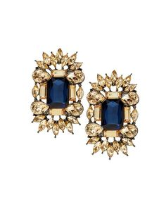Large Sapphire Post Earrings