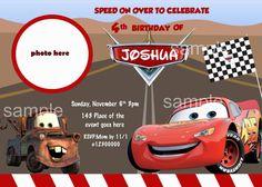 Disney cars Birthday Invitation, McQuenn  Lightning. Digital (print-it-ourself)