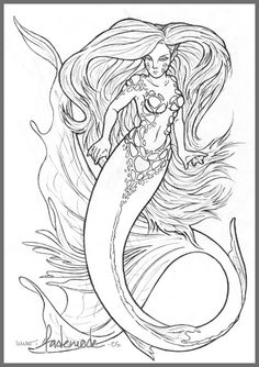 Mermaid -Line Art- by fademode.deviantart.com on @deviantART
