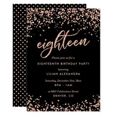 Classy 18th Birthday Invitation Rose Gold Confetti - glitter gifts personalize gift ideas unique