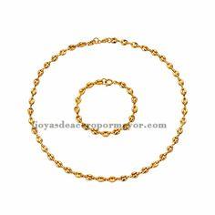 collar y pulsera de moda de dorado en acero para mujer-SSNEG502193