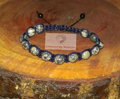 MENS ADJUSTABLE BRACELET Blue Cord and Grey Jasper by RodconPR