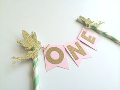 Fairy Cake Topper in Pink, Mint and Gold for 1st Birthday Cake. Smash Cake. Cake Decor. Princess Party. Bunting Banner