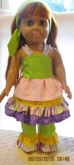 READY to SHIP OOAK boutique 3 piece Doll Outfit will fit American Girl or any 18 inch doll by JMagaClothing on Etsy