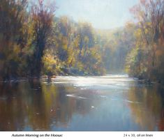 """Autumn Morning on the Hoosic, John MacDonald, oil on linen, 24 x available through the artist. Seascape Paintings, Cool Paintings, Landscape Art, Landscape Paintings, Landscapes, John Mcdonald, River Painting, Seen, Artist Art"
