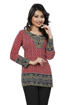 American Crepe Printed Casual Wear Kurti in Multicolour.It is crafted with Printed Design...