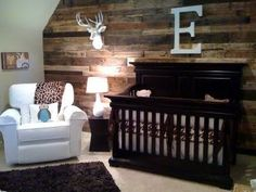 Rustic nursery.... Love love love the back wall!!