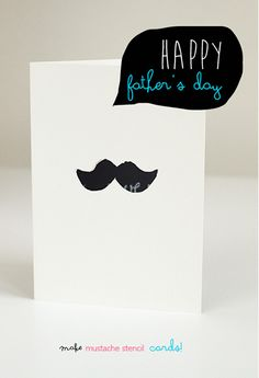 Father's Day Card | Mustache Stencil Cards (2 -in-1 Cards |  willowday: