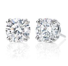Harry Winston Round Brilliant Earstuds    2 round brilliant diamonds, 2.03 total carats; platinum setting.