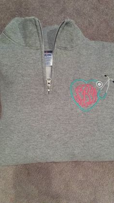 Monogrammed Stethoscope Half Zip by CraftedDownSouth on Etsy, $34.99