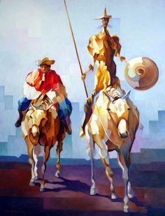 Damiao Martins: Don Quixote e Sancho Pança ² x Man Of La Mancha, Dom Quixote, Arte Pop, Medieval Fantasy, Cartoon Drawings, Les Oeuvres, Painting & Drawing, Folk Art, Contemporary Art