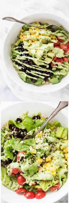avocado, black bean, black pepper, burrito, cilantro, corn, creamy, healthy, jalapeno, quinoa, recipes, salad, tomato