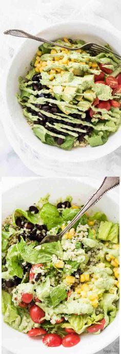 avocado, black bean, black pepper, burrito, cilantro, corn, creamy, healthy, jalapeno, quinoa, recipes, salad, tomato
