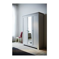 In bedroom: IKEA Aspelund Wardrobe with 3 doors, white Ikea 3 Door Wardrobe, Bedroom Wardrobe, Home Bedroom, Bedroom Furniture, Ikea Closet, Mirrored Wardrobe, Closet Space, Standing Closet, Arquitetura