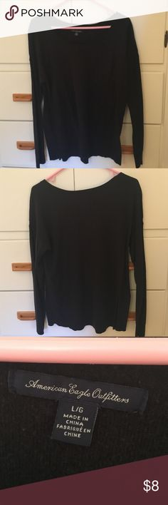 Black AE sweater! This lightweight sweater is perfect for fall and winter. It had a crochet design on the upper arm and a scooped neck. There is slight pilling under the arms, but that is easily solved! 55% cotton, 20% polyester, 15% acrylic, 10% rayon. American Eagle Outfitters Sweaters Crew & Scoop Necks