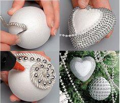 diy navidad DIY: Bolas de navidad con cuerdas y perlas.