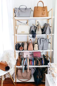 haute off the rack, closet organization, office closet, office space ideas, closet space idea, how to create you're own walk-in closet, women's fashion, home design, closet DIY, desk accessories, white desk, display shelf, how to display your handbags, handbag organizer, handbag display, prada handbag,