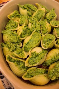 Broccoli and Spinach Stuffed Shells | Healthy, lighter alternative with a great green color!
