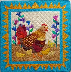 What a cute little quilt! It's especially cute when paired with Cock-A-Doodle Do! This quilt has a finished size of 26